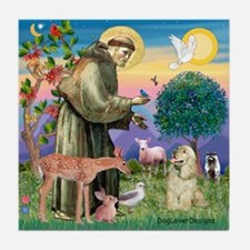St Francis / Cocker (buff) Tile Coaster