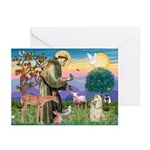 St Francis / Cocker (buff) Greeting Cards (Pk of 2