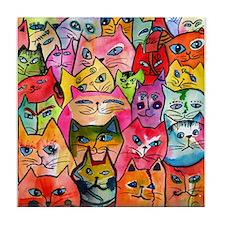 Tattoo Cats Tile Coaster