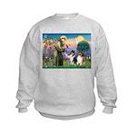 St Francis / Collie Pair Kids Sweatshirt