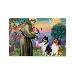 St Francis / Collie Pair Rectangle Magnet
