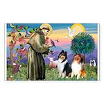 St Francis / Collie Pair Rectangle Sticker