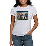 St Francis / Collie Pair Women's T-Shirt