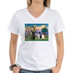 St Francis / Collie Pair Women's V-Neck T-Shirt