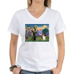 St. Francis & Collie Women's V-Neck T-Shirt