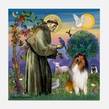 St. Francis & Collie Tile Coaster