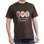 Peace Love Flowers Dark T-Shirt
