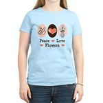 Peace Love Flowers Women's Light T-Shirt