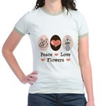 Peace Love Flowers Jr. Ringer T-Shirt