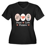 Peace Love Flowers Women's Plus Size V-Neck Dark T