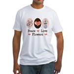 Peace Love Flowers Fitted T-Shirt