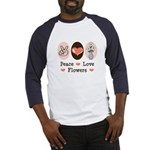 Peace Love Flowers Baseball Jersey