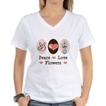 Peace Love Flowers Women's V-Neck T-Shirt