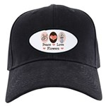 Peace Love Flowers Black Cap