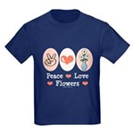 Peace Love Flowers Kids Dark T-Shirt