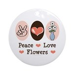 Peace Love Flowers Ornament (Round)