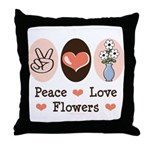 Peace Love Flowers Throw Pillow