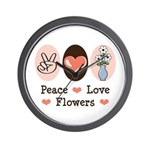 Peace Love Flowers Wall Clock