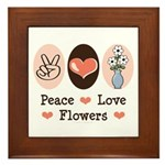 Peace Love Flowers Framed Tile