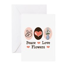 Peace Love Flowers Greeting Cards (Pk of 10)