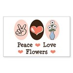Peace Love Flowers Rectangle Sticker 50 pk)