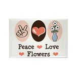 Peace Love Flowers Rectangle Magnet