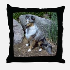 Rock Garden Sheltie Throw Pillow