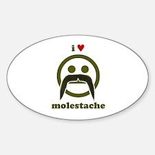 I heart Molestache! Oval Decal