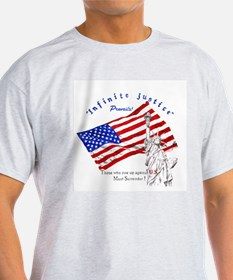 "Patriotic ""Infinite Justice"" Ash Grey T-Shirt"