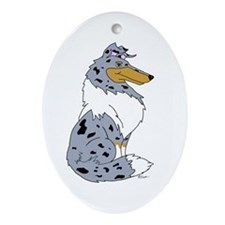Blue Merle Rough Collie Oval Ornament