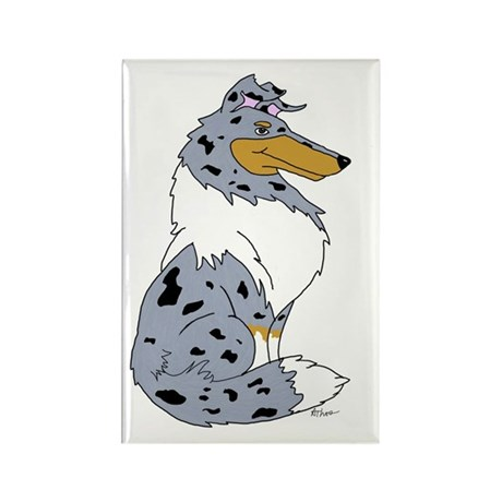 Blue Merle Rough Collie Rectangle Magnet (100 pack