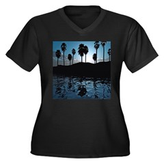 Blue Agave Women's Plus Size V-Neck Dark T-Shirt