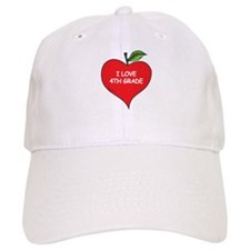 Heart Apple I Love 4th Grade Baseball Cap