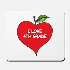 Heart Apple I Love 4th Grade Mousepad