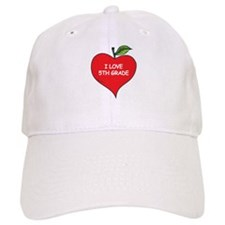Heart Apple I Love 5th Grade Baseball Cap