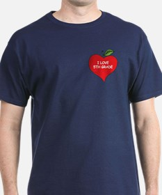 Heart Apple I Love 5th Grade T-Shirt