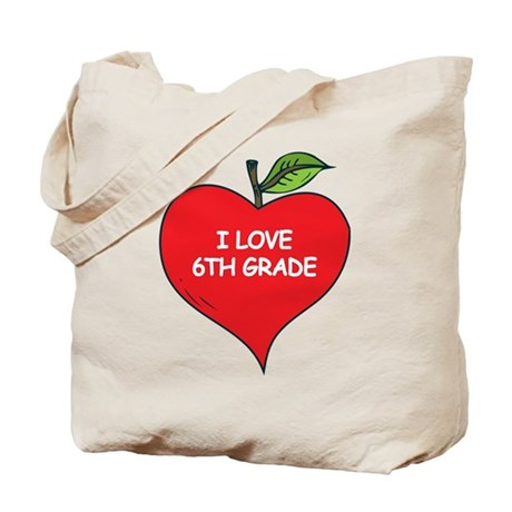 Heart Apple I Love 6th Grade Tote Bag