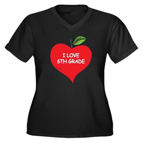 Heart Apple I Love 6th Grade Women's Plus Size V-N