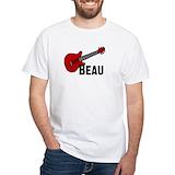 Beau guitar Mens White T-shirts