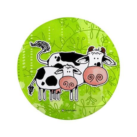 """cow and calf 3.5"""" Button"""
