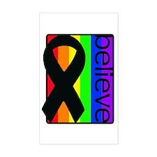 Rainbow (Believe) Ribbon Rectangle Decal