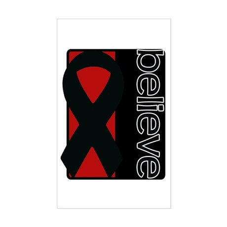 Red and Black (Believe) Ribbon Rectangle Sticker