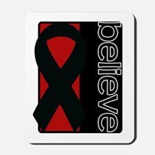 Red and Black (Believe) Ribbon Mousepad