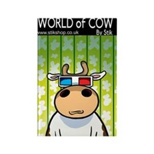 3d Cow Rectangle Magnet