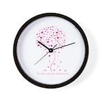 Breast Cancer Awareness Pink Ribbon Tree Wall Cloc