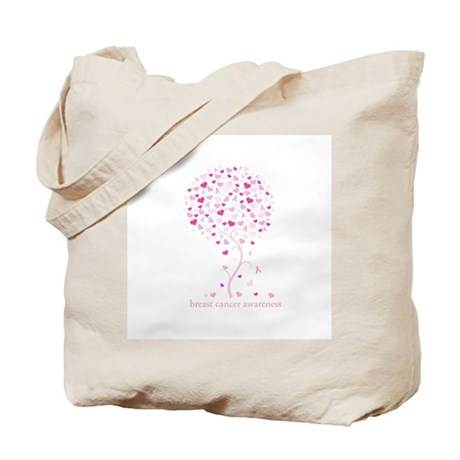 Breast Cancer Awareness Pink Ribbon Tree Tote Bag