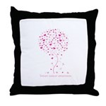 Breast Cancer Awareness Pink Ribbon Tree Throw Pil