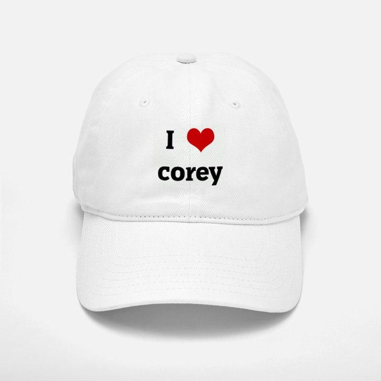 I Love corey Baseball Baseball Cap