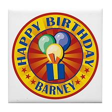 Happy Birthday Barney Personalized Tile Coaster