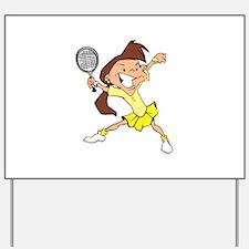 Yellow Tennis Girl Yard Sign